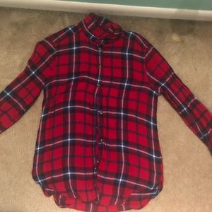 Red and Blue Plaid American Eagle Flannel